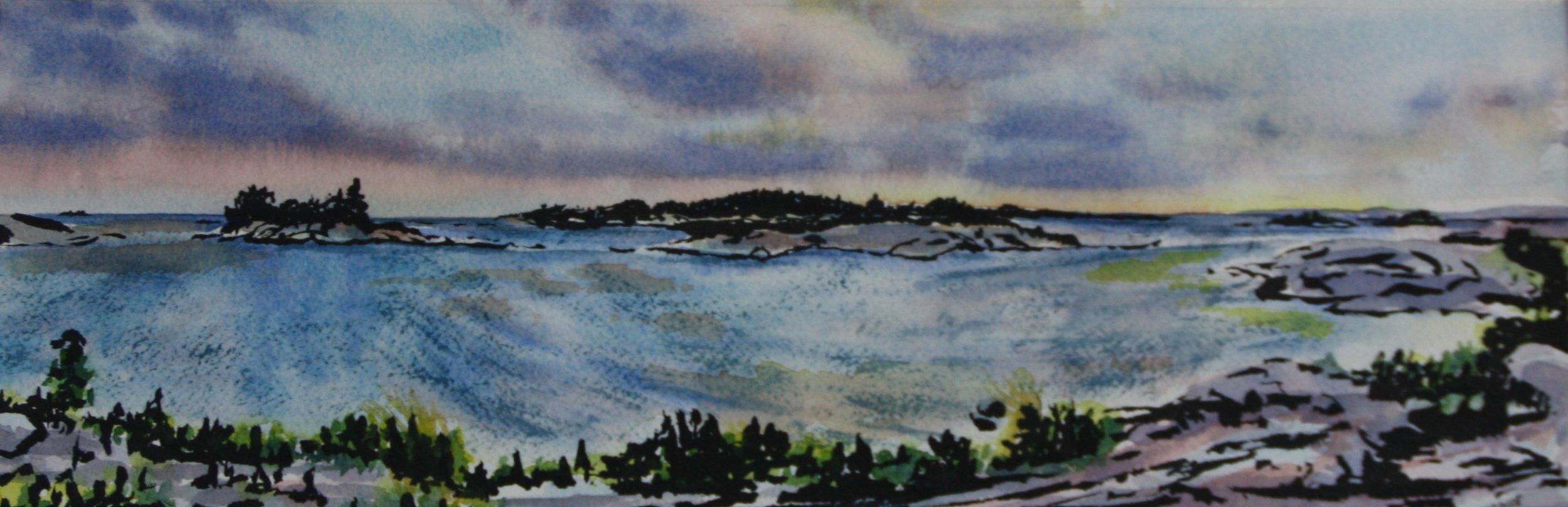 "KILLARNEY#3, watercolour & ink, 10"" x 4"""