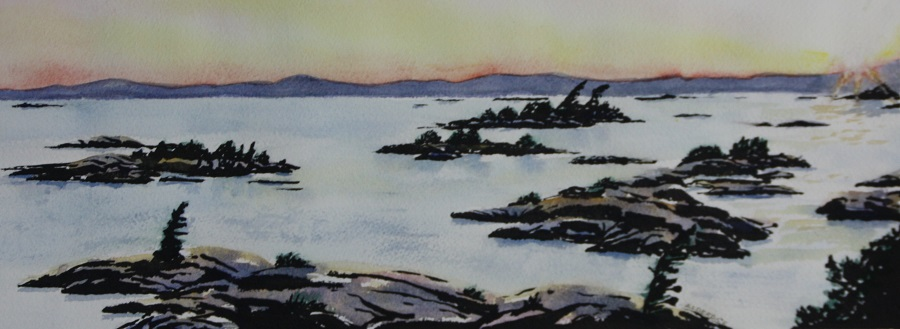 "KILLARNEY #4, watercolour & ink, 10"" x 4"""