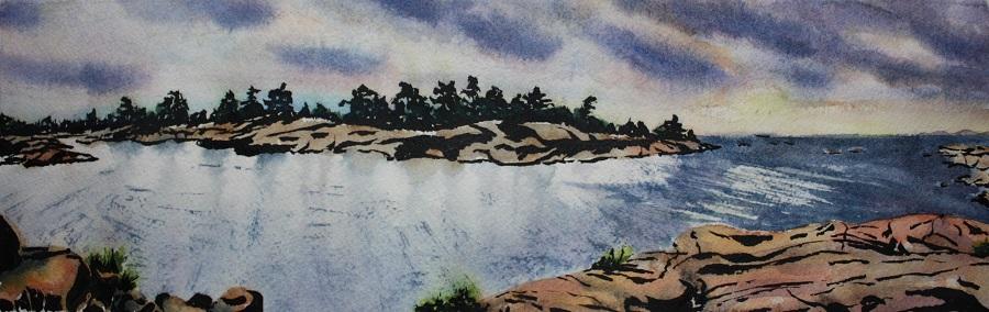 "KILLARNEY #5, watercolour & ink, 10"" x 4"""