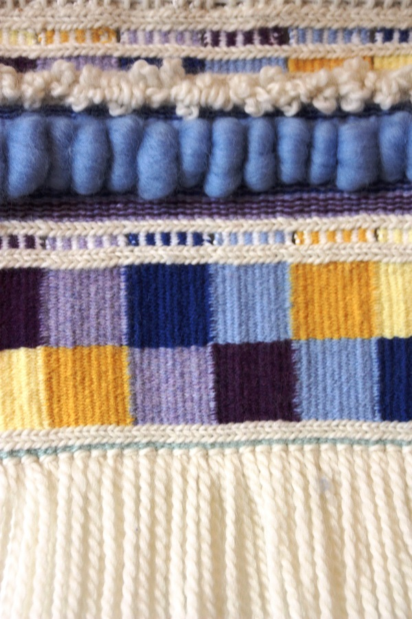 Tapestry using more advanced interlock techniques - you can learn these in the level 2 class offered later in the year.
