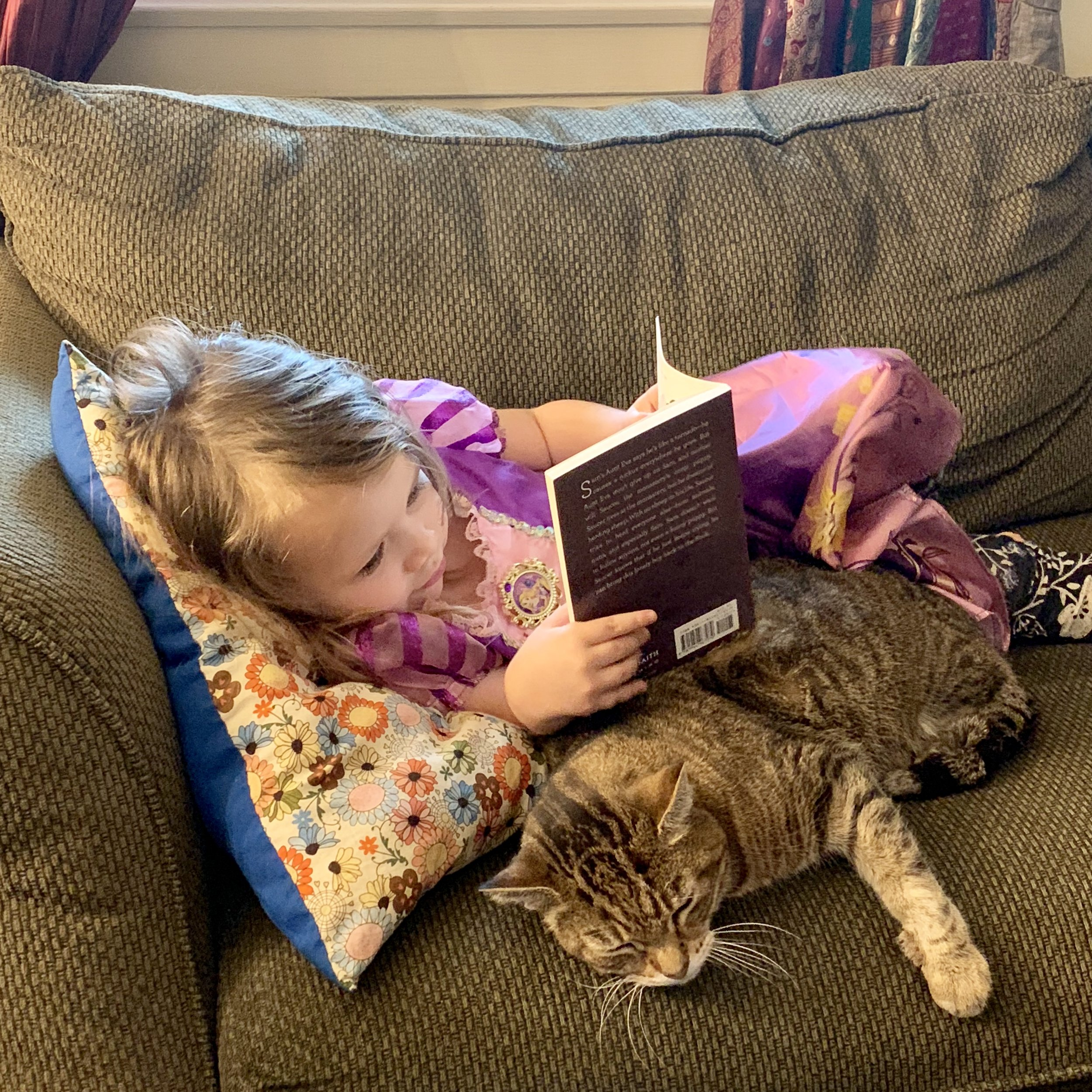 Disclaimer: My 3 year old is definitely NOT reading herself a chapter book— she just enjoys the pictures in the book. And cat snuggles.