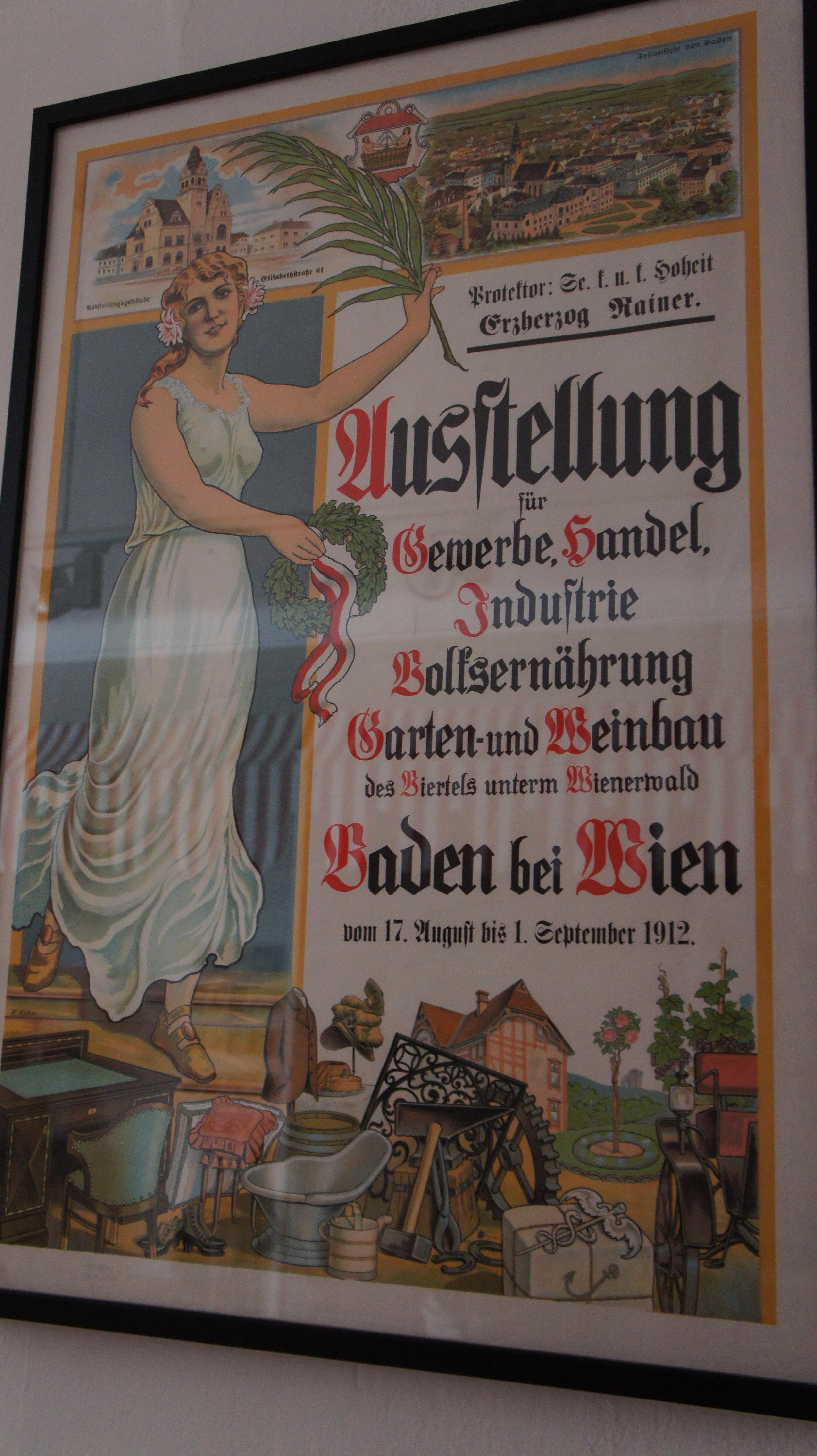 gewerbesaal - Hintergrund der Ausstellung ist die Gewerbeausstellung 1912 vor dem Weikersdorfer Rathaus