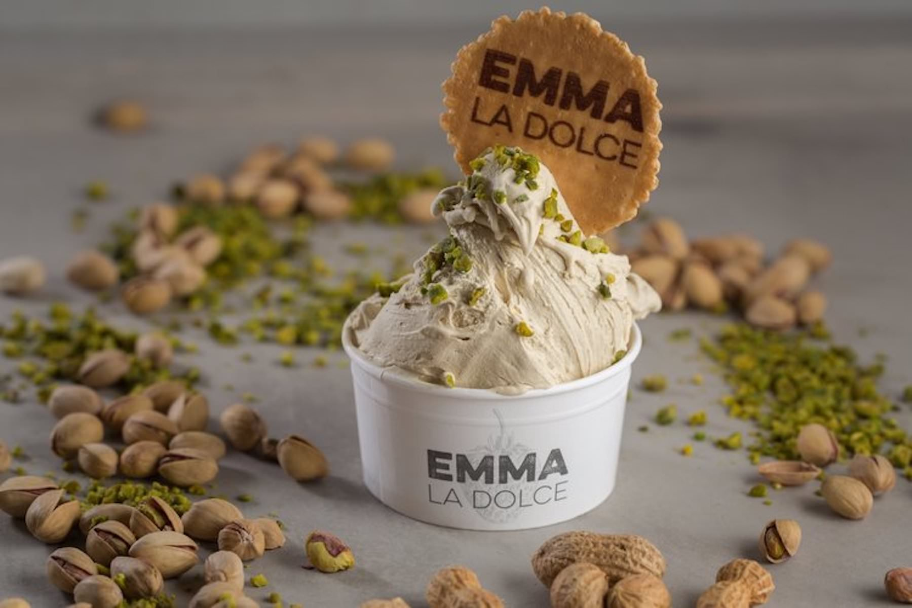 Natural ingredients and a freshly made gelato base for our pistachio ice cream