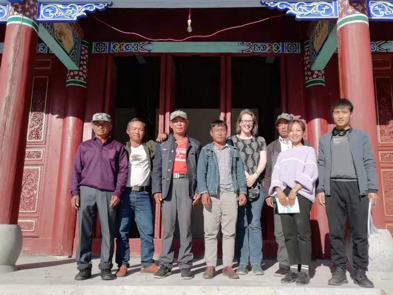 Village leaders with research team (Yang, fourth from right)