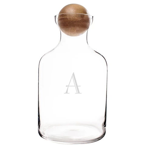 Personalized Glass Decanter with Wood Stopper
