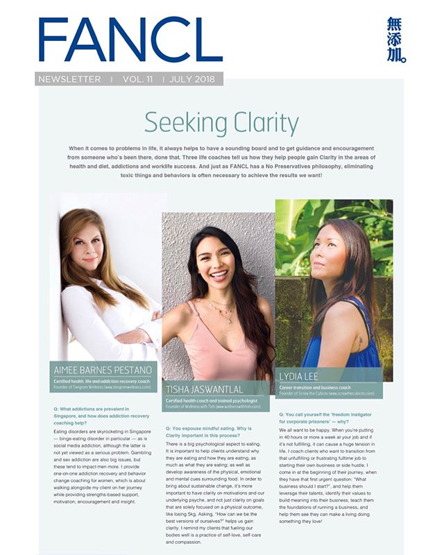 """Talking about the importance of having CLARITY and how it ties into nutrition and health, with these other lovely ladies ✨ for FANCL's newsletter out this month!! 🗞 ~ """"There is a big psychological aspect to eating. It is important to help clients understand why they are eating and how they are eating, as much as what they are eating. We also want to develop awareness of the physical, emotional and mental cues surrounding food. In order to bring about sustainable change, it's more important to have clarity on our motivations and underlying psyche, rather than clarity on goals that are solely focused on a physical outcome (like losing 5kg). Asking, """"How can we be the best versions of ourselves?"""" helps us gain clarity. I remind my clients that fueling our bodies well is a practice of self-love, self-care and compassion"""" ✨🌸"""