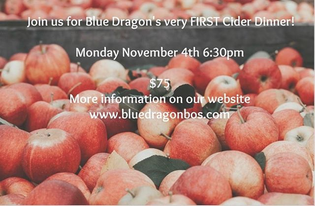 Save the date!! Monday November 4th for our very first cider dinner. We are so excited and can't wait to see you there. Link in bio for tickets, menu coming soon! @mingtsai @tin_can80 #eatbluedragon #drinkbluedragon #cider #ciderseason #ciderdinner