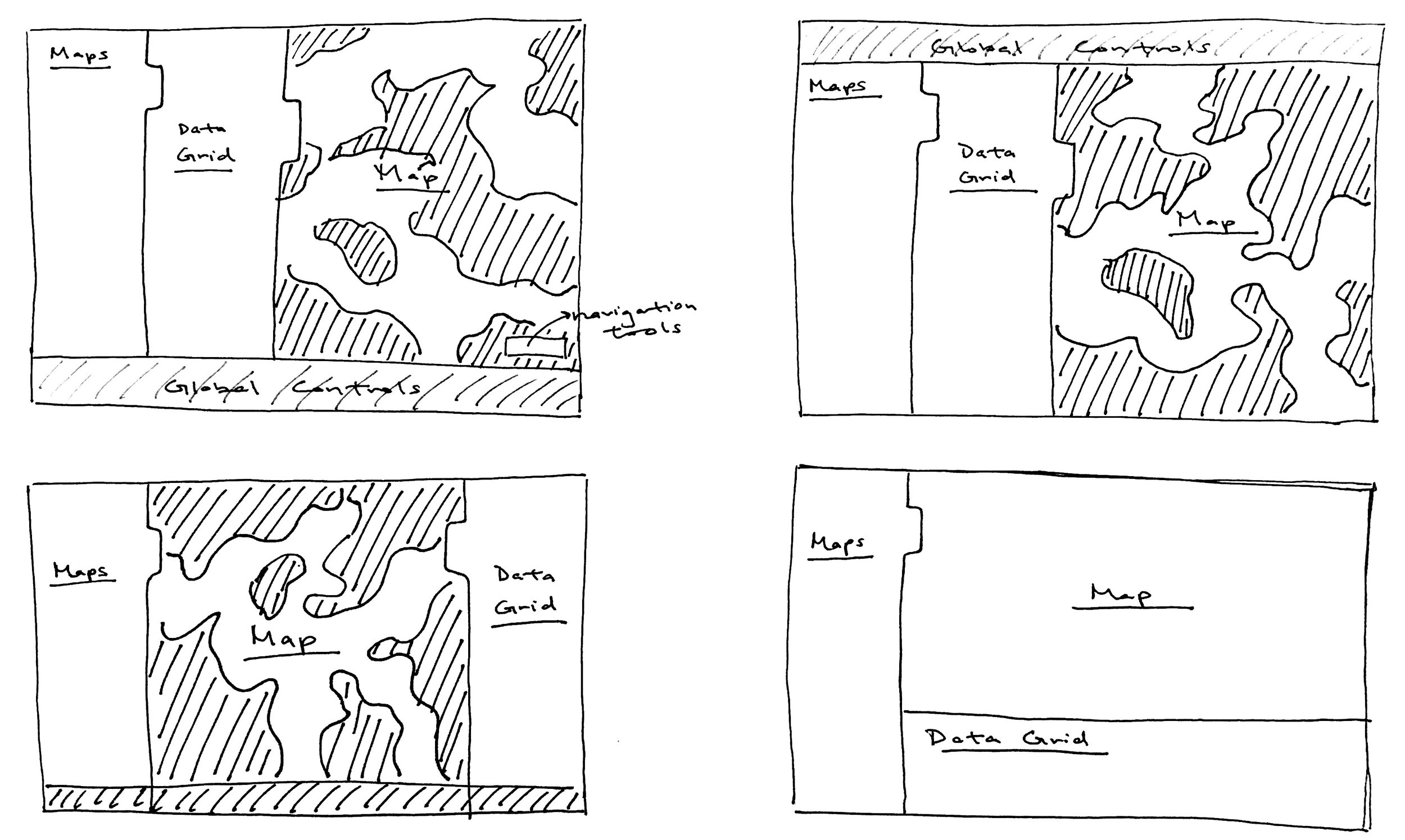 Experimenting with different locations of the data gird while trying to optimize the map's screen real estate.