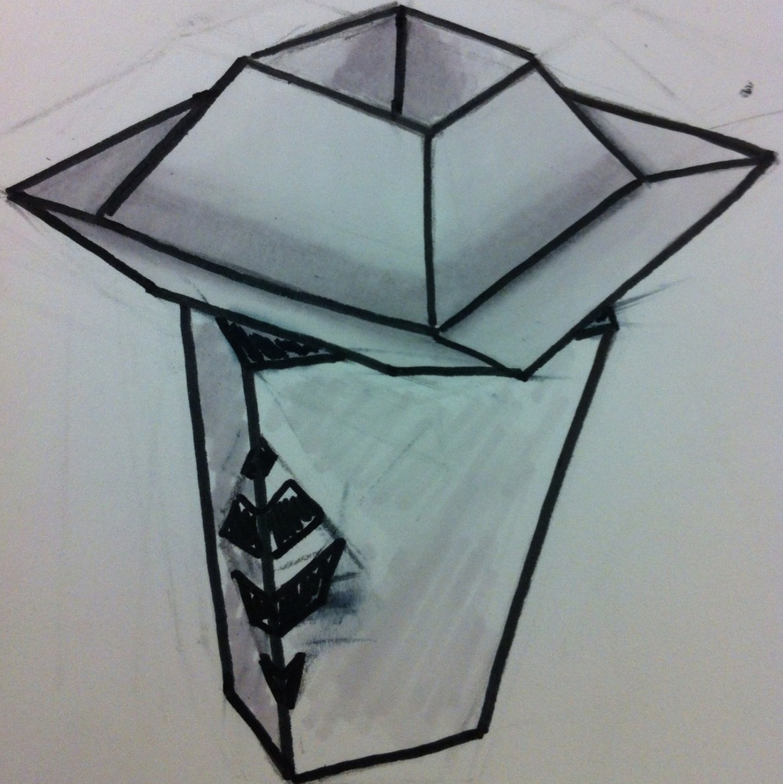 1st Design:   stablishment of trapezoid and stacking themes.