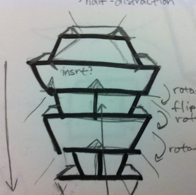 2nd Design:   Repeat pattern of 1st Design several times, tiers gradually get narrower towards bottom  f the fixture.