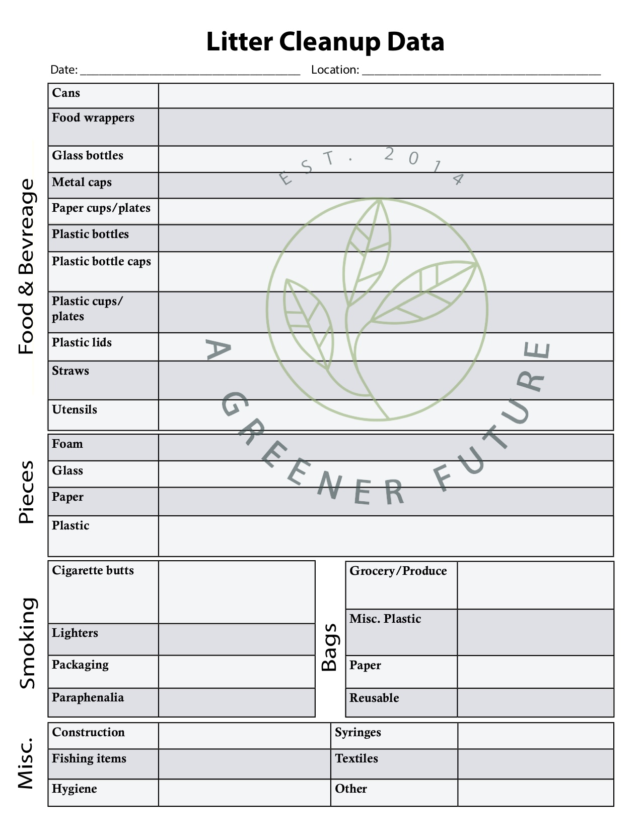 Data Sheet - Used to record the litter picked up. Categories are in alphabetical order. Please do your best to memorize where items are located so you can find them more quickly during the recording process.