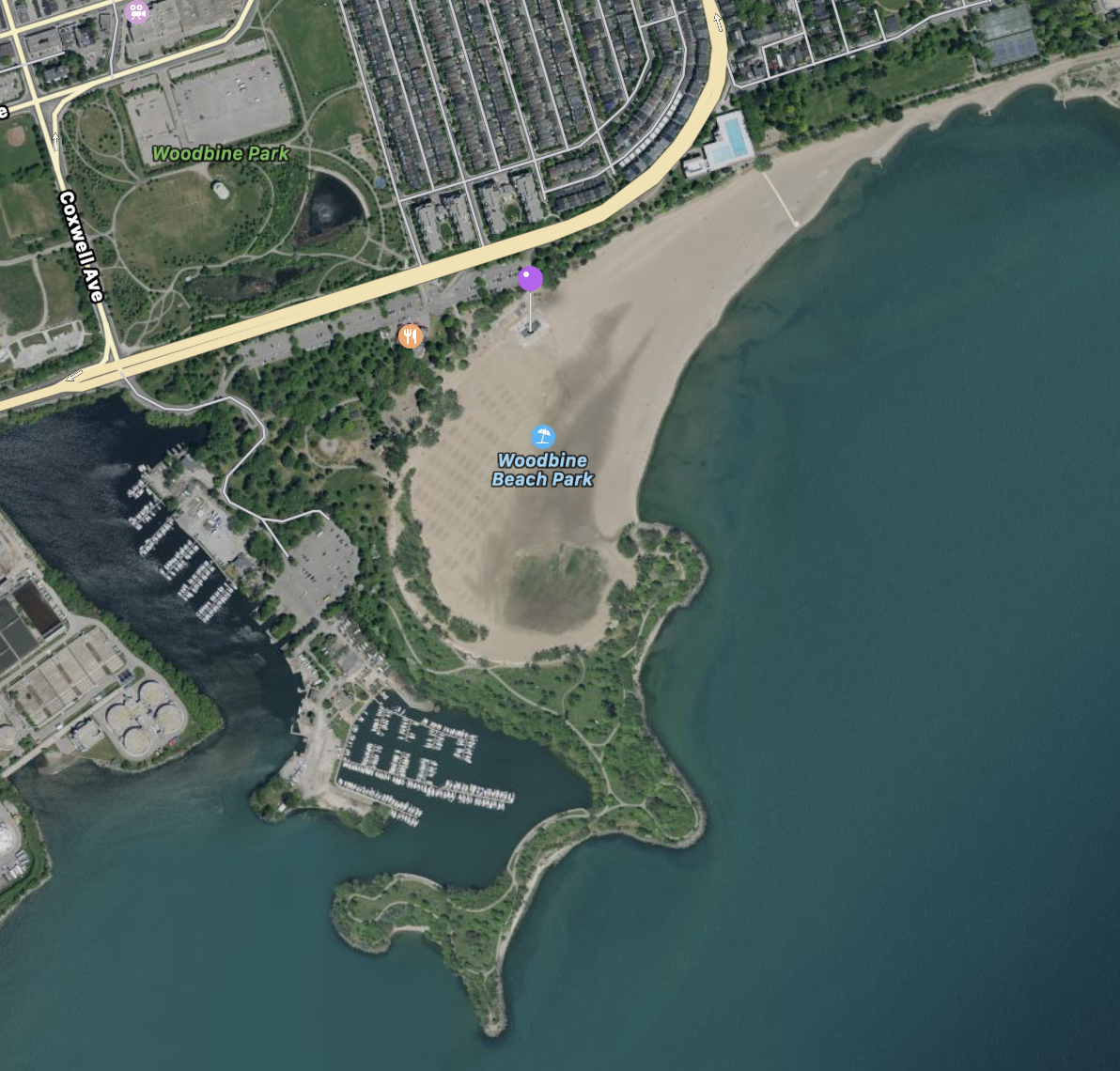 We'll be meeting in front of the Woodbine Bathing Station.