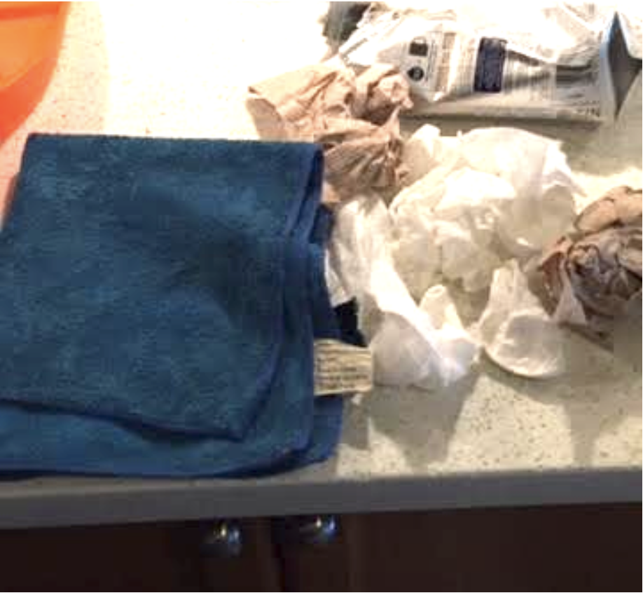 We swapped paper towel for a reusable towel.