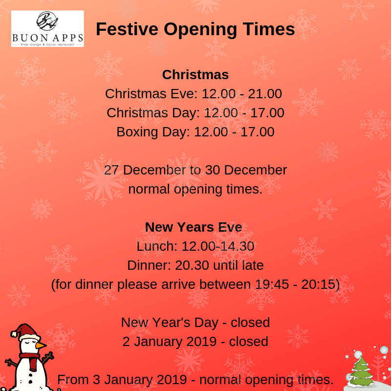 Our opening times over Christmas and New Year.