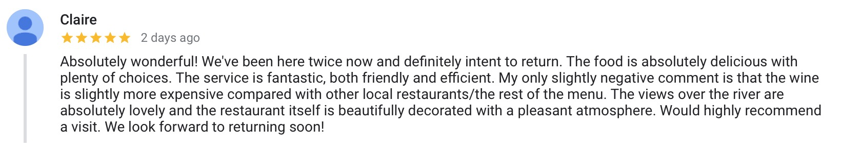 Review left on Google