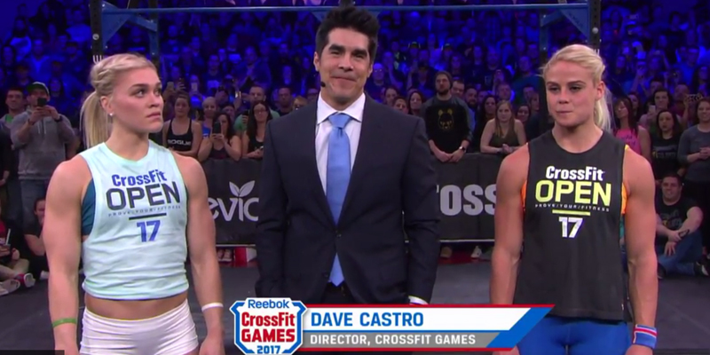 Katrin Davidsdottir, Dave Castro and Sara Sigmundsdottir at a 2017 Open announcement.   Source: boxrox.com