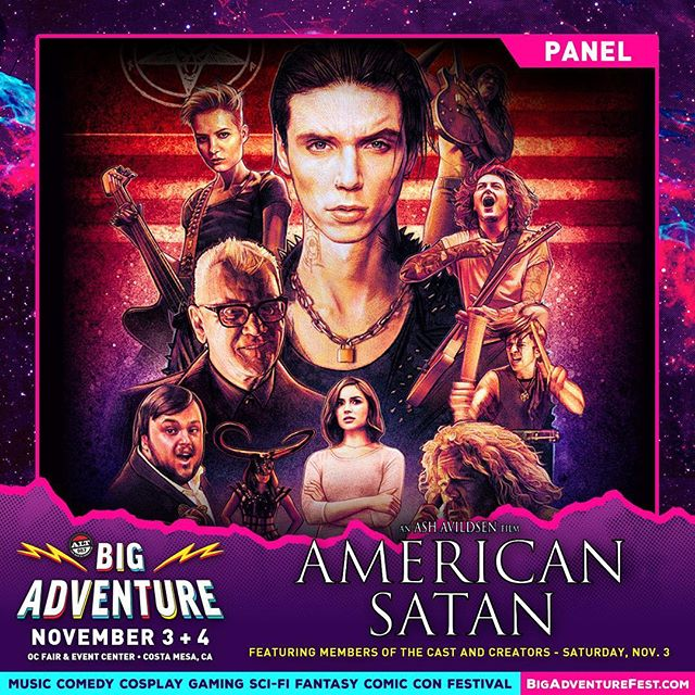California! Come see @andyblack @booboostewart.art @benjaminpaulbruce and creator @ashavildsen at @bigadventurefest in Costa Mesa this Saturday Nov 3 for a LIVE PANEL where we will discuss the film ANDDDDDD.... THE FIRST OFFICIAL ANNOUNCEMENT ABOUT THE TV SERIES, BOTH RETURNING CAST & NEW CAST!!! Paradise City is around the corner... #AndyBiersack #BooBooStewart #BenBruce #AshAvildsen #AmericanSatan #ParadiseCityShow #BigAdventure