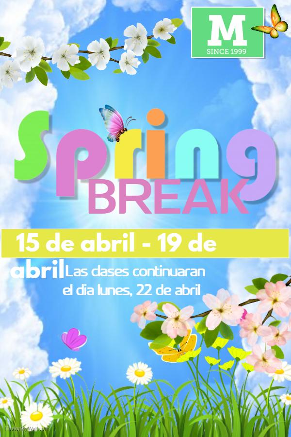 - El Receso de Primavera empieza esta semana. No hay clase para los estudiantes desde el día lunes, 15 de abril de 2019 hasta el día viernes, 19 de abril de 2019. El primer día de clase es el día lunes, 22 de abril de 2019.