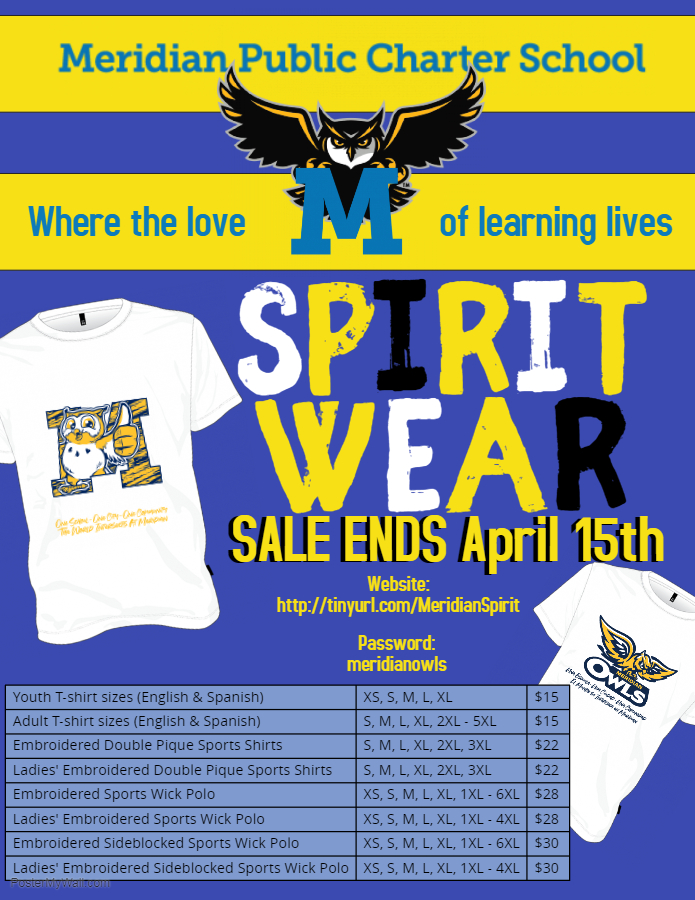Students will be allowed to wear their Meridian t-shirts every day, not just dress down days!