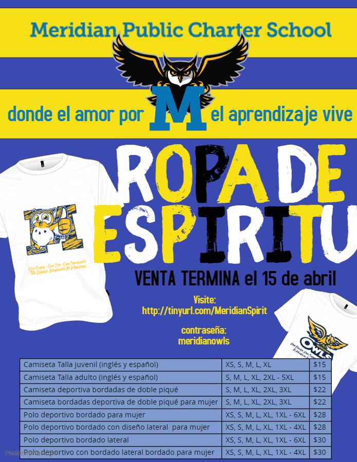 Los estudiantes podrán usar sus camisetas de Meridian todos los días, ¡no solo en los días sin uniforme!