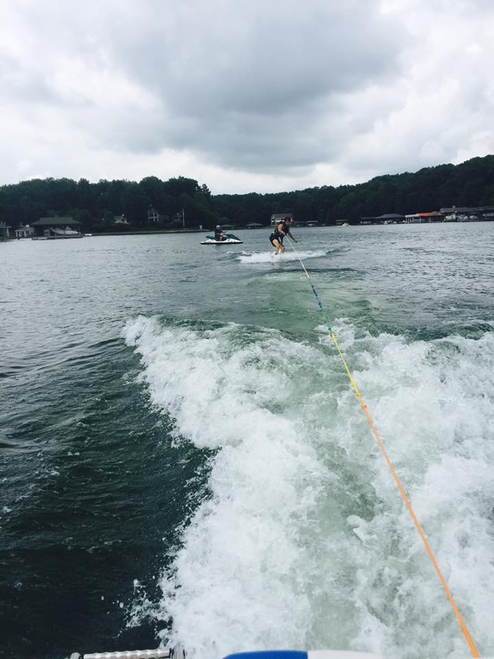 Wake boarding - thank goodness for phones that catch that one second where we are actually vertical.