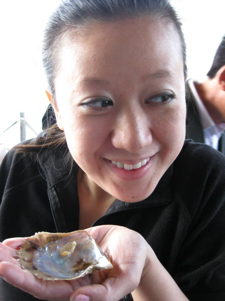 I think Linh was more excited about eating the oysters than the pearls.