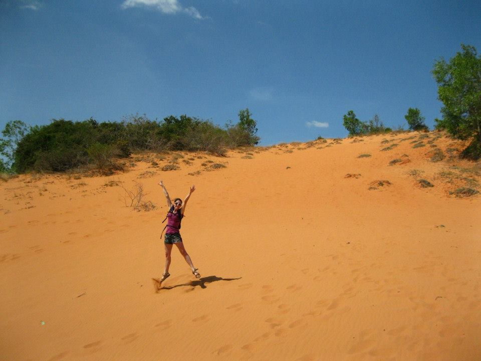 Jumping on a sand dune is kind of challenging.