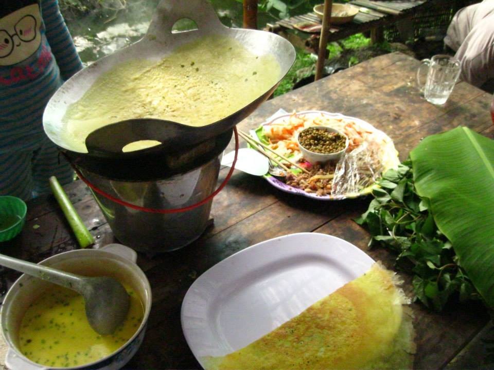 Banh Xeo - my favorite! Vietnamese crepes made with coconut milk and tumeric.