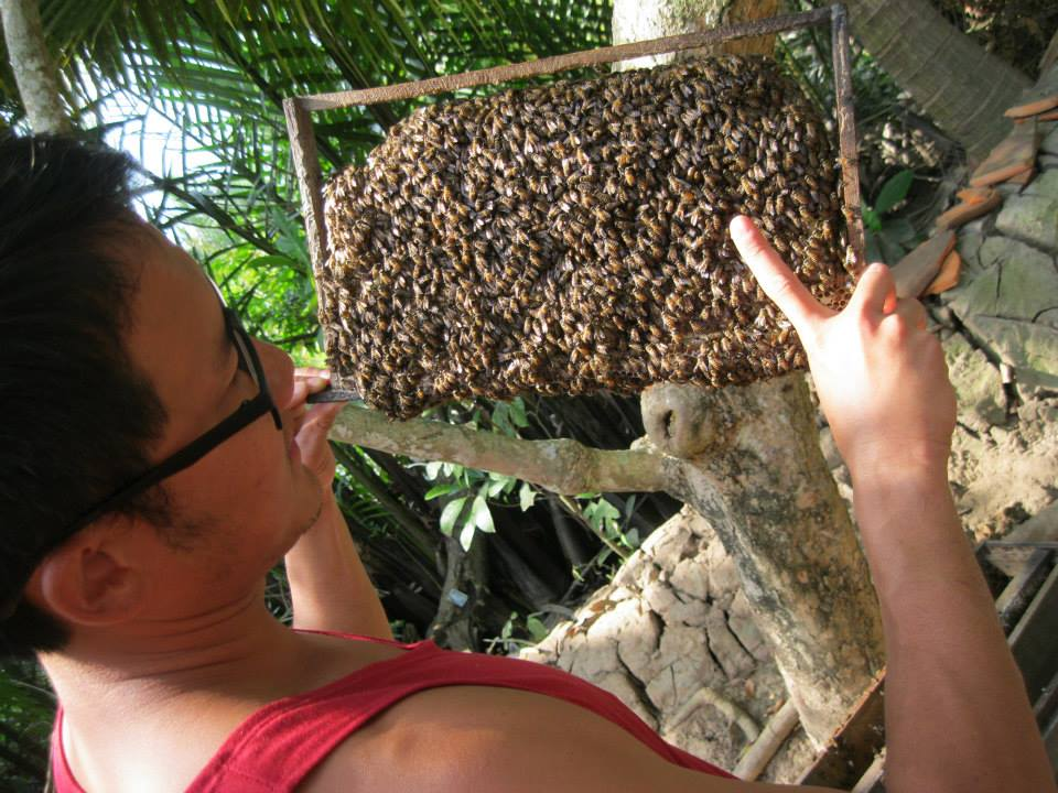 They also had some beehives, and so Jimmy had to show off his queen-finding abilities.