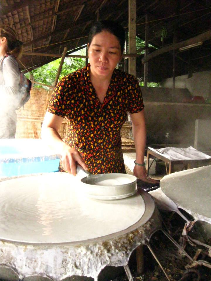 First they spread a thin layer of the rice batter on these giant steaming pots covered in leather.