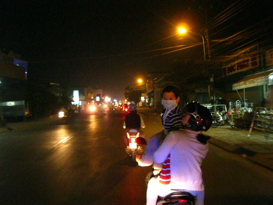 Later in the evening, we went for a motorcycle ride around town to get smoothies. No car seats in Vietnam.