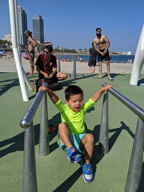 There's a fun workout playground on the beach too.