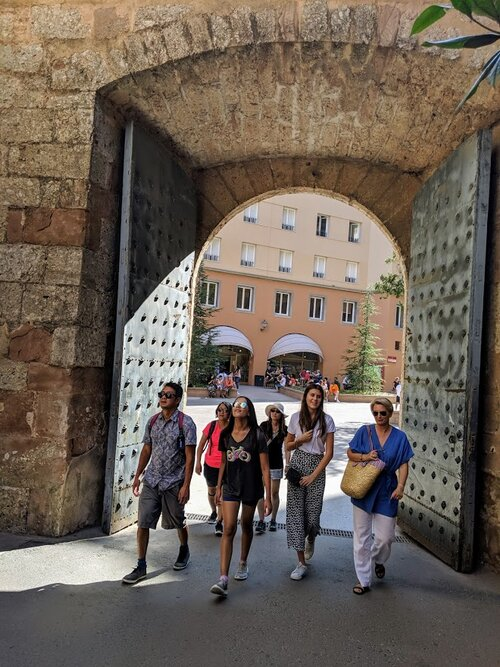 Walking through the gate up to the monastery