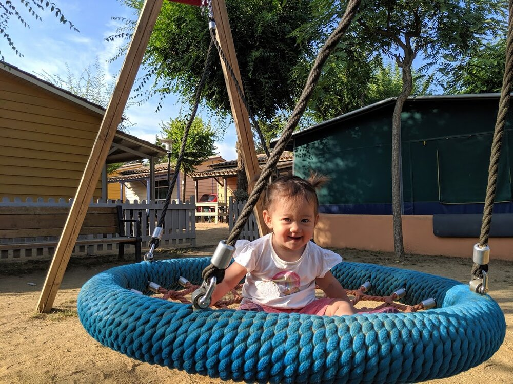 She did not want to get off this swing.