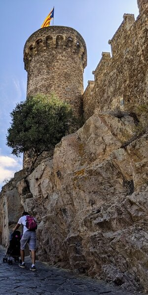 The walk up to the castle and lighthouse is essentially one giant ramp - so it is a stroller-friendly walk.