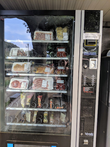 I was starving, but the only food option at the Lava Park was this weird vending machine with uncooked meats.