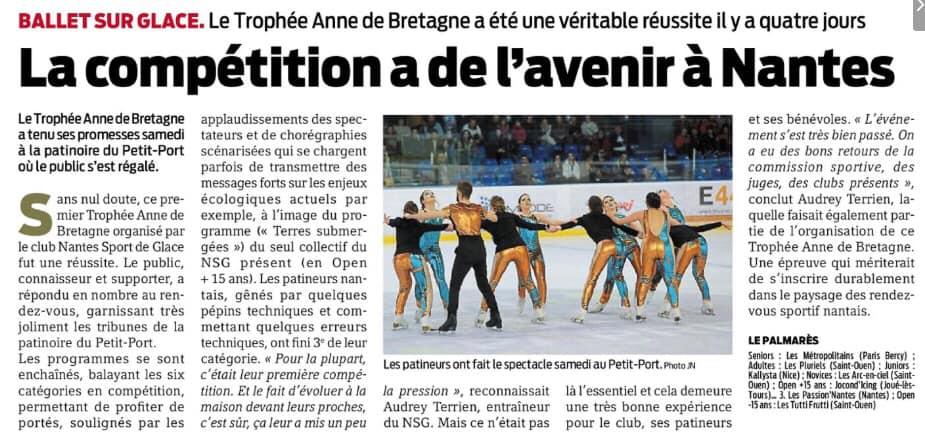 Article Presse Océan paru le lendemain de la compétition