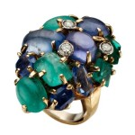 Seaman Schepps emerald, sapphire and diamond Cocktail Ring