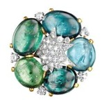 Verdura cabochon tourmaline and diamond brooch