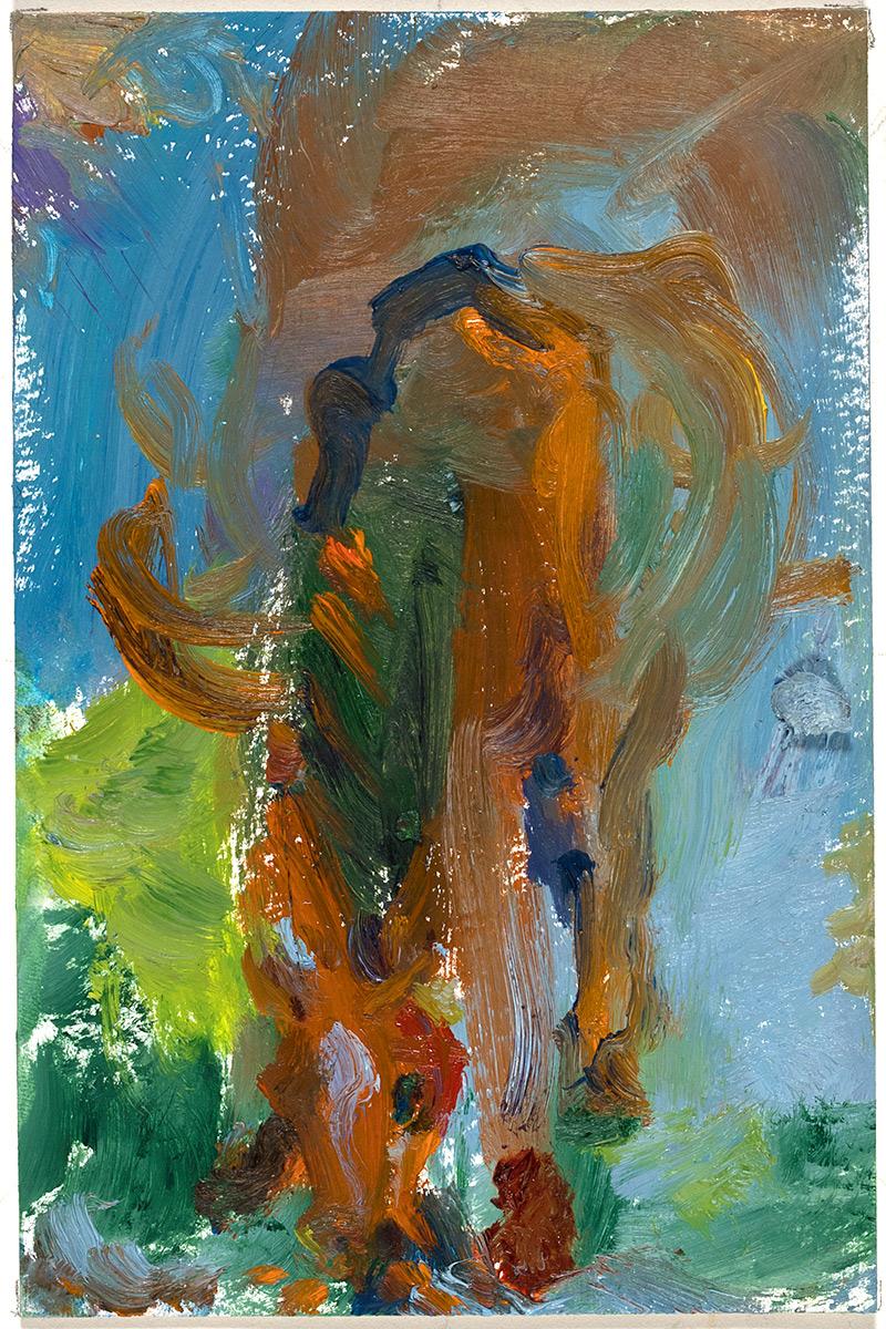 Schmusi  2017 oil on paper 6 x 4 in.