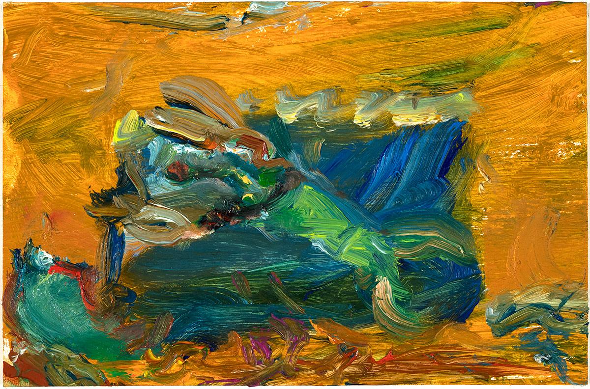 Tiamat  2018 oil on paper 4 x 6 in.