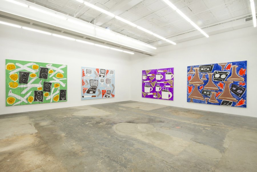 """Katherine Bernhardt, """"Stupid, Crazy, Ridiculous, Funny Patterns"""" Installation View, CANADA, 2014. Courtesy of CANADA, New York, NY."""