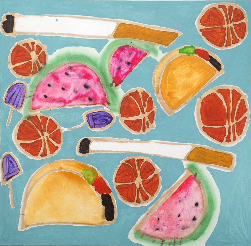 Katherine Bernhardt, Tropical Fruit Salad, 2014, acrylic and spray paint on canvas, 78 x 79.5 inches. Courtesy of    CANADA   , New York, NY.
