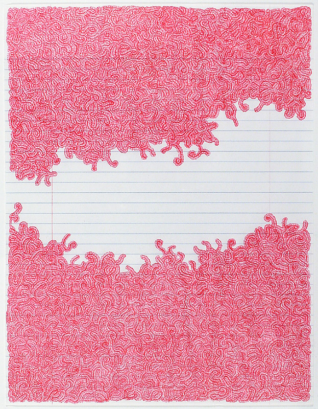Untitled, 2013, ink on notebook paper, 11 x 8.5 in., courtesy the artist and McKenzie Fine Art, New York