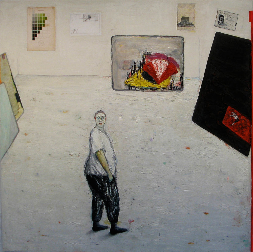 Quandary, 2011, oil on wood, 72 x 72 inches. Courtesy the artist.