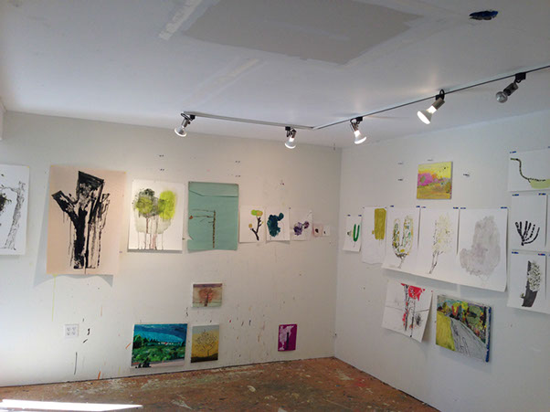 Power line tree drawings in Lisa Sanditz's studio in Tivoli, NY. Courtesy the artist.