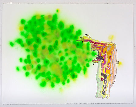 Spray Tree, 2014, spray paint, colored pencil, marker and gouache on paper, 38 x 50 in. Photo by Tim Davis and Pete Mauney, courtesy the artist.