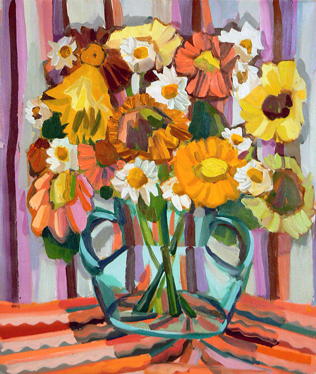 Pink and Yellow Daises, 2006, 26 x 22 in., oil on linen.