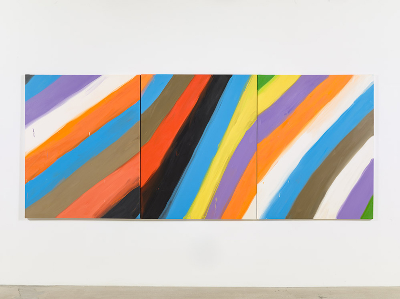 Stripe Triptych (Black, Blue, Purple; Orange, Blue, Brown, 2-01-08; Green, Yellow, Purple, 1-31-08), 2008, oil on canvas, 60 x 148 inches. Courtesy Ann Craven Studio and Maccarone, New York.