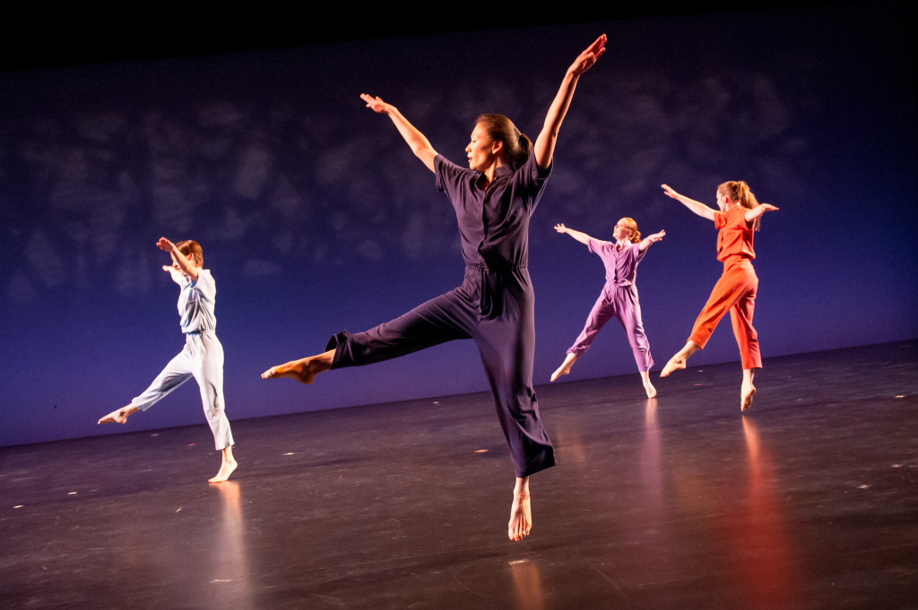 Members of Molissa Fenley and Company performing  Energizer , reconstructed in October 2013 at New York Live Arts. Photo by Ian Douglas, Courtesy New York Live Arts.